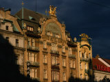 Art-Nouveau Facade of the Grand Hotel Europa  Prague  Czech Republic