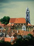 Baroque Tower of Abbey Church on the Danube  Durnstein  Austria