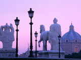 Statues of Mario's Triumph and Castor Amongst Old Street-Lamps  Rome  Italy