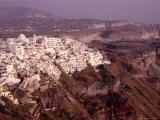Cliffside Village Built on Black Volcanic Rock Caldera  Fira  Santorini Island  Greece