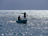 Two Men Fishing from Small Boat  Coconut Island  Australia