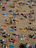 Sunbathers on Plage Du Mole (Beach)  St Malo  Brittany  France