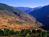 Kuru Chhu Valley with Snow-Capped Tangmachu Mountain in Background  Lhuntse  Bhutan