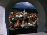 The Old Town from Krumlov Castle Tower  Cesky Krumlov  South Bohemia  Czech Republic