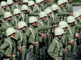 Soldiers in Uniform  and Wearing Helmets  Standing in Formation During Military Parade  Cuzco  Peru