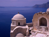 Church Inside Crumbling Castle Walls Clinging to Caldera on Cliffs  Oia  Santorini Island  Greece