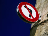 No Left Turn Sign  Roses  Catalonia  Spain