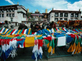 Prayer Flags for Sale at Market on Barkhor  Outside Jokhang Temple  Lhasa  Tibet