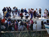 Passengers Standing on Roof of Boat on Lago De Atitlan  Santiago Atitlan  Solola  Guatemala