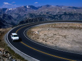 Car on Windy Road Near Beartooth Pass Beartooth Wilderness  Montana  USA