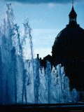Fountain with Domed Building Behind  Copenhagen  Denmark