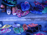 Thongs and Sandals Are Discarded as Local Dancers Practice in the Village of Timbrah  Indonesia
