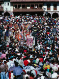 Corpus Christi Procession Weaving Through Large Crowd of Spectators  Cuzco  Peru