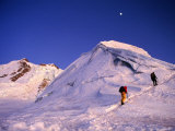 Mountaineers Climbing Ridge on Mountain  Huayna Potosi  Bolivia