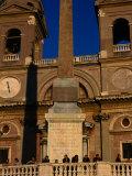 Chiesa Ss Trinita Dei Monti Towers Above Spanish Steps (Scalinata Di Spagna)  Rome  Italy