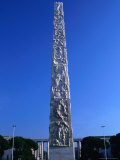 Carved Stone Obelisk on Piazza Marconi  Rome  Italy