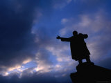 Lenin Statue Silhouetted Against Sky Outside Finland Station  St Petersburg  Russia