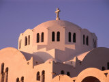 White-Washed Dome of Greek Orthodox Cathedral  Fira  Santorini Island  Greece