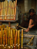 Bamboo Pipe Maker Working in His Shop in Old Quarter  Hanoi  Vietnam