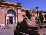 Sphinx Guarding Entrance to Egyptian Museum  Cairo  Egypt