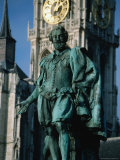 Statue of Peter Paul Rubens on Groenplatz with Onze Lieve Vrouwekathedraal Behind  Antwerp  Belgium