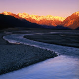 Waimakariri River Valley with Sun-Lit Mountains Behind  Arthur&#39;s Pass National Park  New Zealand