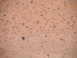 Two Distant People Walking Desert of Wadi Rum  Wadi Rum National Reserve  Aqaba  Jordan