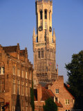 Belfry and Canal Buildings from the Dijver  Bruges  West-Vlaanderen  Belgium