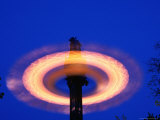 Spinning Ride in Night Sky at Tivoli Gardens  Copenhagen  Denmark