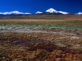 Hot Spring Run off and the Distant Andean Cordillera  San Pedro De Atacama  Chile