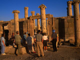 A Tour Group at the Byzantine Basilica in the 2nd Century Roman Decapolis City of Jerash  Jordan