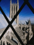 Prom Tower of National Cathedral Through Window Bars  Washington Dc  USA