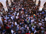 Overhead of Pilgrims Crowding Inside the Santuario De Immaculada Concepcion  Lo Vasquez  Chile