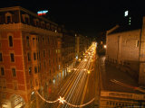 Via Xx Settembre and Church Santo Stefano from Ponte Monumentale at Night  Genova  Italy