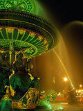 Illuminated Fountain in Place De La Concorde  Paris  France