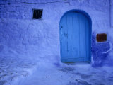 Alleys and Doorways Painted Blue to Repel Insects in the Rif Mountains  Chefchaouen  Morocco