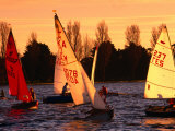 Small Yachts Sailing Around Albert Park Lake  Melbourne  Australia