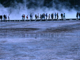 Hikers Walking along a Boardwalk at Midway Geyser Basin  Yellowstone National Park  USA