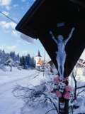 Shrine in Front of Snow-Covered Church Outside Postojna  Postojna  Slovenia