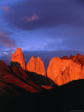 The Towers of Paine in Sunlight  Torres Del Paine National Park  Chile