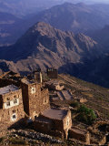 Buildings of Town with Mountains Behind  Shihara  Yemen