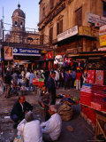 People and Street Stalls on Jawaharlal Nehru Road (Chowringhee Road)  Kolkata  India