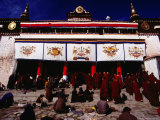 Monks and Pilgrims Outside Sera Monastery  Lhasa  Tibet