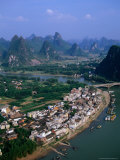 Aerial View of Town on Li River with Limestone Pinnacles in Background  Yangshuo  China