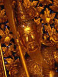 Gold Leaf Gild and Golden Statue of Guard in Grand Palace  Bangkok  Thailand