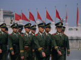 People&#39;s Liberation Army Soldiers at Tianananmen Square  Beijing  China