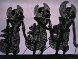 Silhouette of the Pandawa Brothers  Characters in a Traditional Wayang Kulit Play  Indonesia