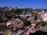Overhead of Lower and Upper Town with Indian Ocean in Distance  Maputo  Mozambique
