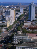 Overhead of Avenida 25 De Setembro in Lower Town Area with Wharves in Distance  Maputo  Mozambique