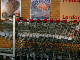 Shopping Trolleys Outside a Brugsen Supermarket  Tollose  Sjaelland Island  West Zealand  Denmark